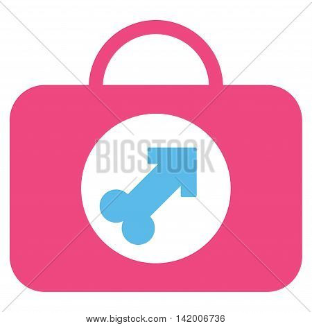 Male Erection Case vector icon. Style is bicolor flat symbol, pink and blue colors, rounded angles, white background.