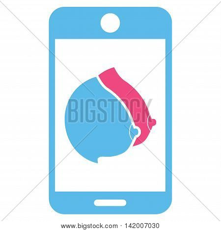 Mobile Erotic Tits vector icon. Style is bicolor flat symbol, pink and blue colors, rounded angles, white background.