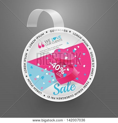 Wobbler design template. Sale event. Vector illustration with box and confetti.