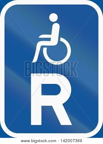 Road Sign Used In The African Country Of Botswana - Reservation For Vehicles Carrying Disabled Passe