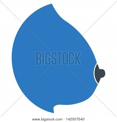 Female Tit vector icon. Style is bicolor flat symbol, smooth blue colors, rounded angles, white background.