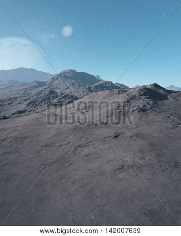 Empty landscape with mountains and planets in background