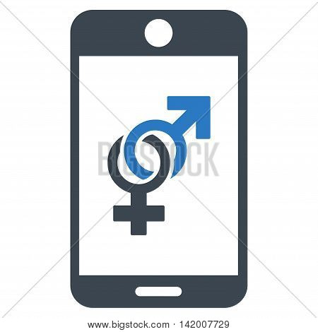 Mobile Dating vector icon. Style is bicolor flat symbol, smooth blue colors, rounded angles, white background.