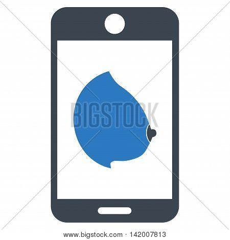 Mobile Erotic Tit vector icon. Style is bicolor flat symbol, smooth blue colors, rounded angles, white background.
