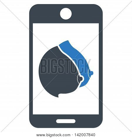 Mobile Erotic Tits vector icon. Style is bicolor flat symbol, smooth blue colors, rounded angles, white background.