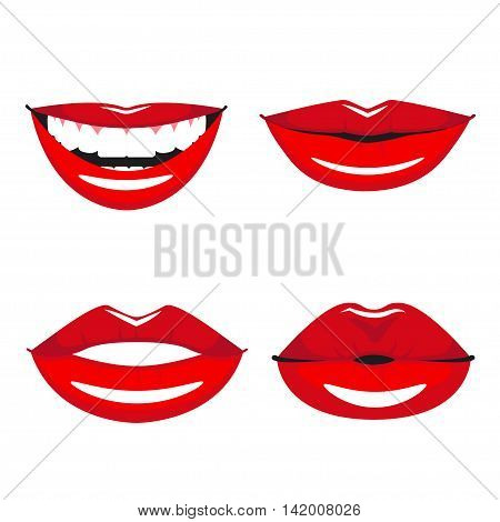 Set of vector red lips. Various types of woman lips. Broad smile with teeth, slight smile and kissing lips.