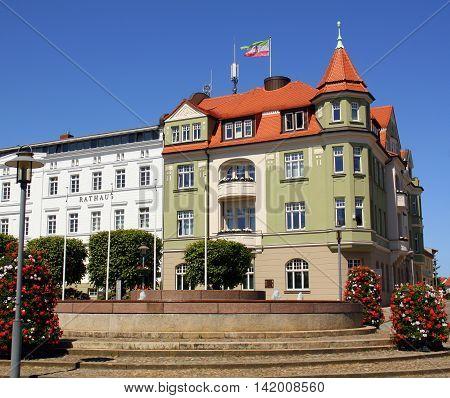 Bergen. June-06-2016.City hall in the city of Bergen on the island of Ruegen. Germany