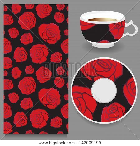 stock vector cup of coffee and seamless floral oriental ornament. hand drawn