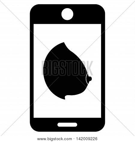 Mobile Erotic Tit vector icon. Style is flat symbol, black color, rounded angles, white background.