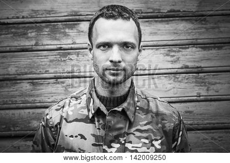 Young Military Man, Monochrome Portrait