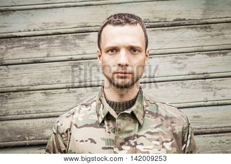 Young Serious Caucasian Military Man