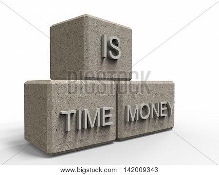 3D Rendering. Time Is Money 3D Stone Cubes