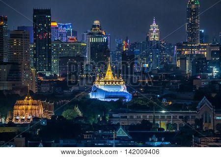 Golden Mount Temple Fair Golden Mount Temple in Bangkok at dusk (Wat Saket Thailand)