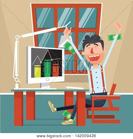 Man rejoices profits flat style. Businessman happy with money income. Cartoon colorful vector illustration