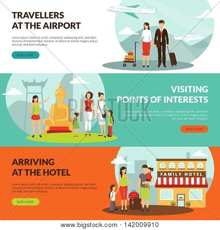 Travelers at airport in hotel and sightseeing excursion horizontal banners set for tourists webpage design vector illustration