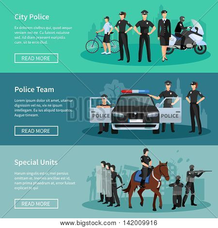 Police people flat horizontal banners set of special units mounted police city police and police team with official vehicles vector illustration
