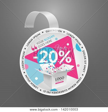 Wobbler design template. Sale event. Vector illustration with box and confetti.