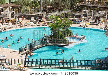 FUERTEVENTURA, SPAIN - SEPTEMBER 7, 2015:Swimming Pool in Caleta de Fuste on Fuerteventura . Canary Island. Spain