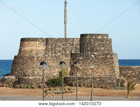 Ancient Castle in Caleta de Fuste. Canary Island Fuerteventura Spain