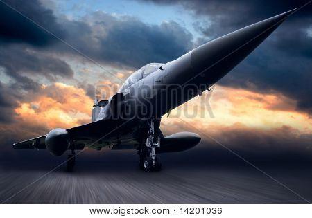Military airplane on dark sky