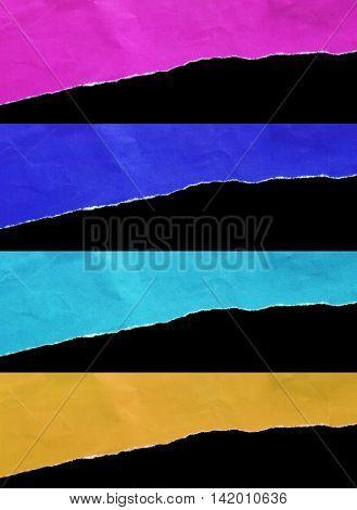 torn paper on black background for message