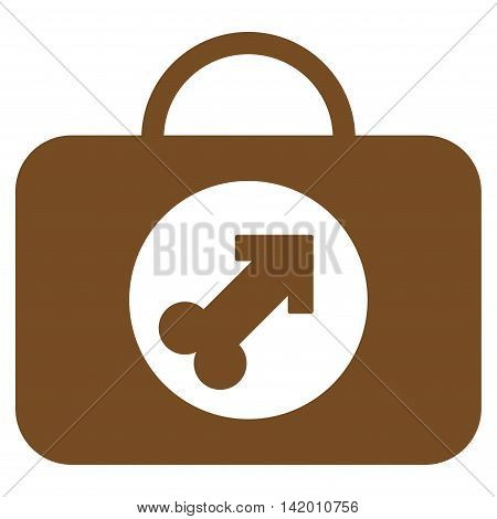Male Erection Case vector icon. Style is flat symbol, brown color, rounded angles, white background.