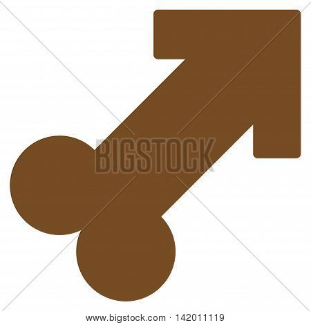 Male Sexual Symbol vector icon. Style is flat symbol, brown color, rounded angles, white background.