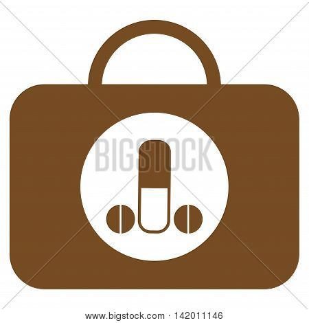 Male Sexual Toolbox vector icon. Style is flat symbol, brown color, rounded angles, white background.