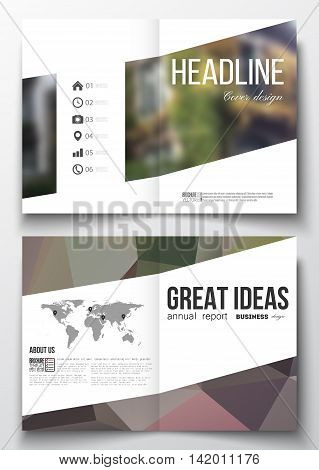 Set of business templates for brochure, magazine, flyer, booklet or annual report. Polygonal background, blurred image, urban landscape, street in Montmartre, Paris cityscape, modern vector texture.