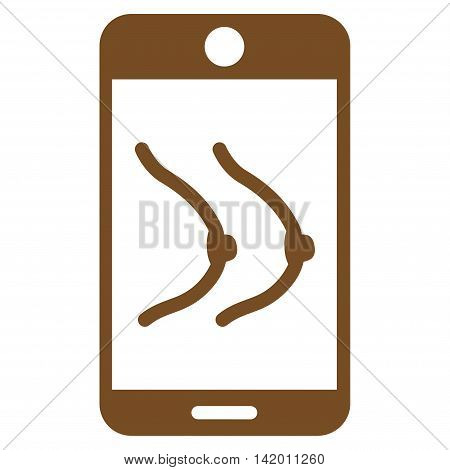 Mobile Erotics vector icon. Style is flat symbol, brown color, rounded angles, white background.