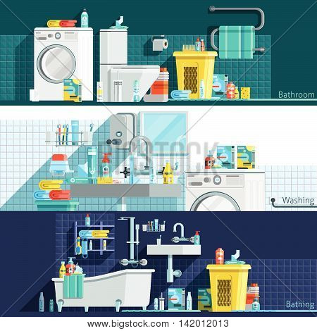 Hygiene icons flat horizontal banners with bathroom interior toiletries washing machine laundry basket vector illustration