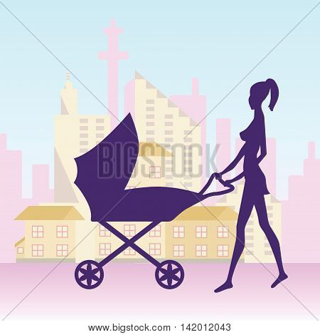 Vector illustration of a young woman with baby carriage in city