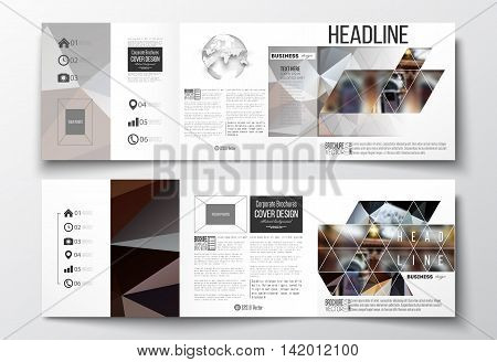 Vector set of tri-fold brochures, square design templates with element of world globe. Colorful polygonal background, blurred image, night city landscape, modern triangular vector texture.