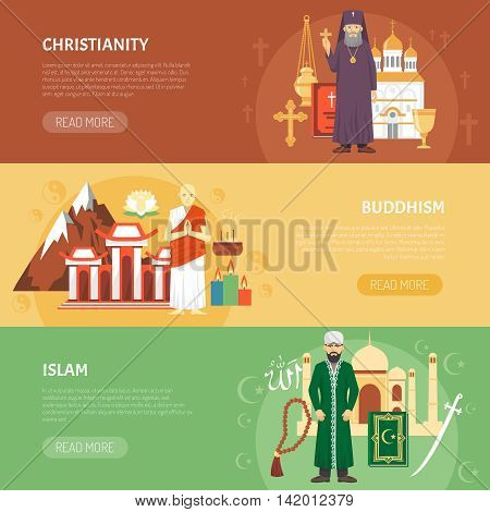 Color horizontal flat banners about religion confession christianity buddhism islam vector illustration