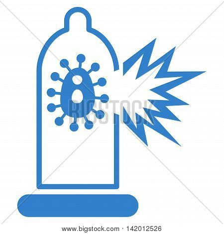 Damaged Condom With Virus vector icon. Style is flat symbol, cobalt color, rounded angles, white background.