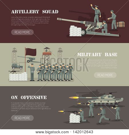Military army force base with artillery squad webpage design 3 flat horizontal banners set isolated vector illustration