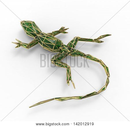 3D Render Of Shiny Luxury Crystal Sapphire Lizard With Edges Framed With Golden Wire