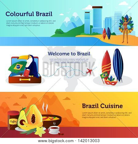 Brazil travel 3 flat horizontal banners set with national cuisine dishes landmarks and surfboard isolated vector illustration