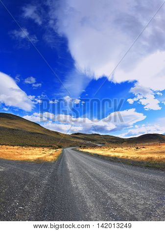 Picture taken with a fisheye lens.  The dirt road in the Chile National Park