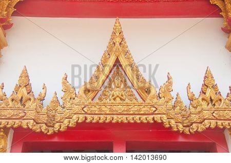 Thai temple door sculpture at Wat Nong Wang thai temple at Khon kaen provine in thailand