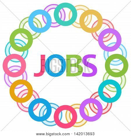 Jobs text written over colorful circular background.