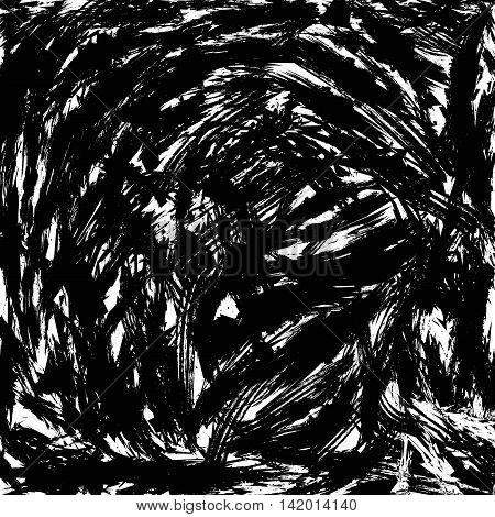 Background with lots of disordered brush strokes. Grunge style. Black-and-white color. opacity mask or irregularities for the texture. Vector illustration. EPS 8.