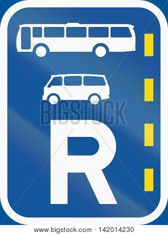 Road Sign Used In The African Country Of Botswana - Reserved Lane For Buses And Mini-buses