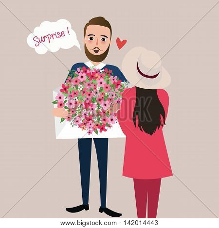 man give girl flower bouquet surprise vector illustration love