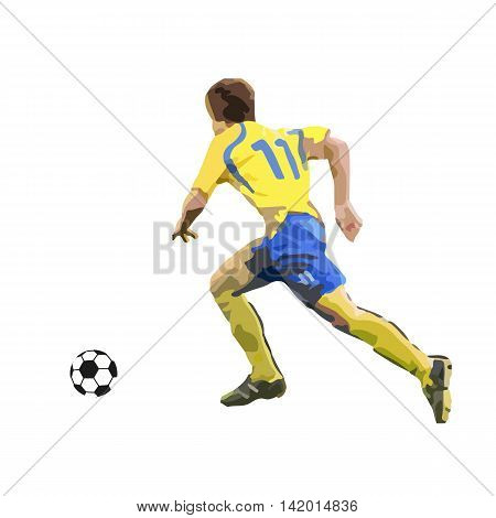 Running soccer player vector illustration. Active young man
