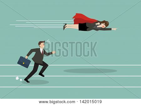 Business woman superhero fly pass his competitor. Business competition concept