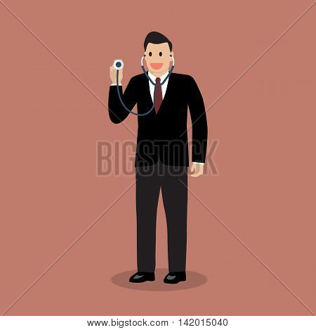 Businessman holding stethoscope. Business concept vector illustraion