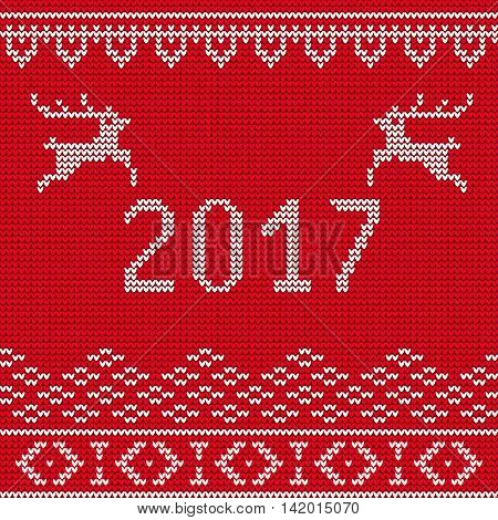 Vector Illustration of Ugly sweater Party for Design, Website, Background, Banner. Happy New Year 2017 Knitted Retro cloth with Snowflake Element Template
