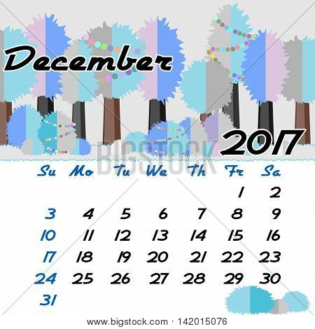 Calendar design grid with seasonal forest in flat style and dates of winter month December 2017. Vector illustration