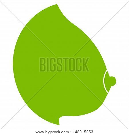 Female Tit vector icon. Style is flat symbol, eco green color, rounded angles, white background.